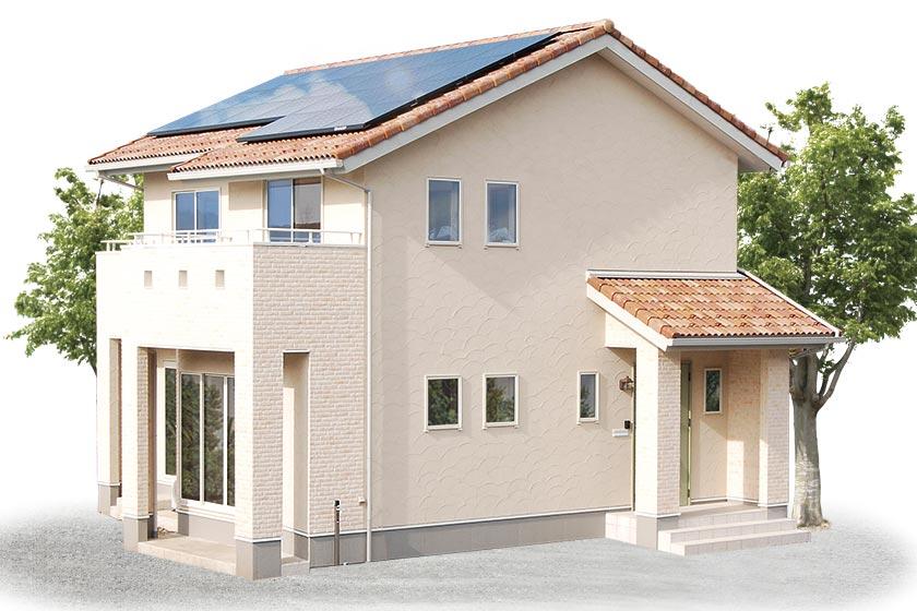 太陽光パネルを搭載した南欧風の家