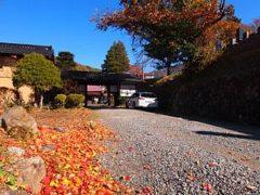 落ち葉に彩られた門前