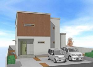 白い壁に木調のアクセントが効かせた家の外観パース